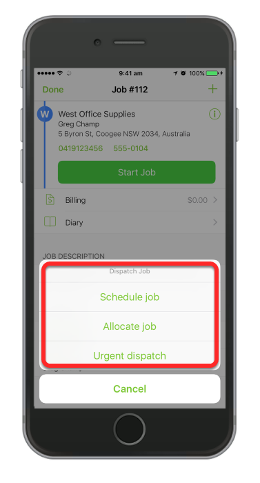 Select how you will dispatch job to your staff member