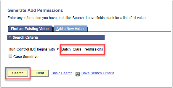 Generate Add Permission page - Find an Existing Value Run control ID and Search buttons highlighted