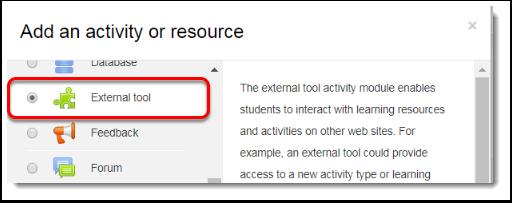 Select External tool.