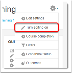 Select Turn editing on.
