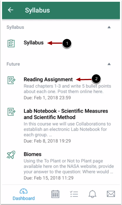 View Syllabus and Assignment List