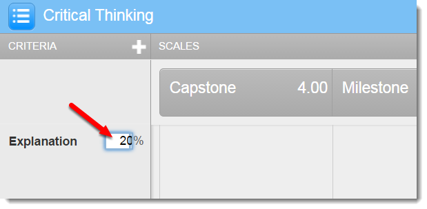 percentage field is selected.