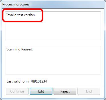 Invalid test version error message.