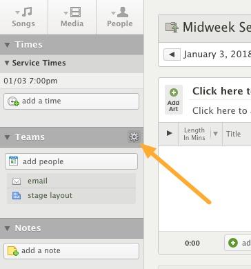 edit teams on service type