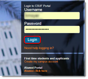 Login button is selected.