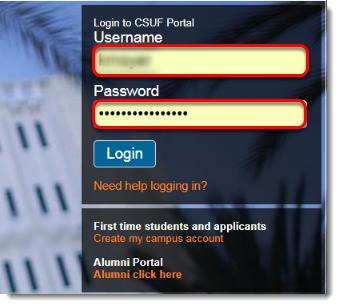 Username field is selected.