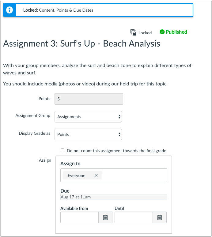 View Edit Page for Locked Assignment