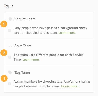 team types