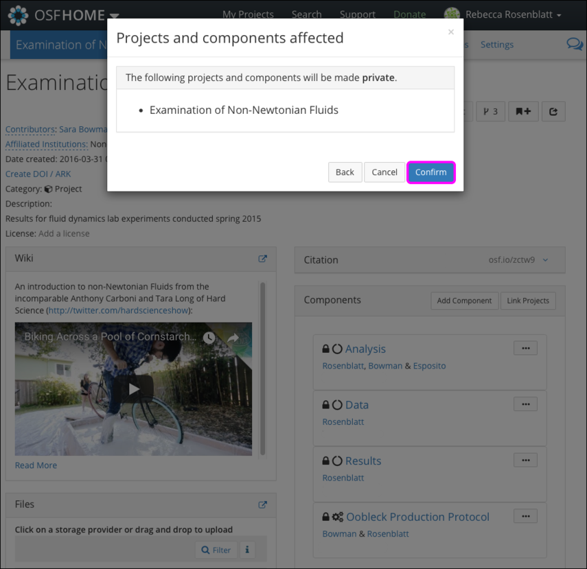 """The """"Projects and components affected"""" Modal"""