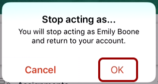 Confirm Stop Acting as User
