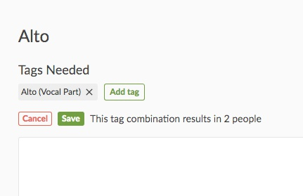 save or cancel number of tags