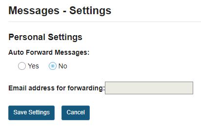 Site participant (student) settings options: