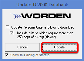 8. Click Update to download the latest Price Data.