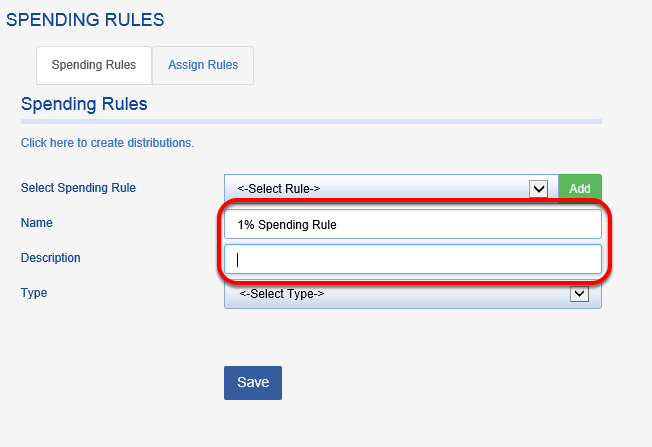 Name your spending rule and enter a brief description.
