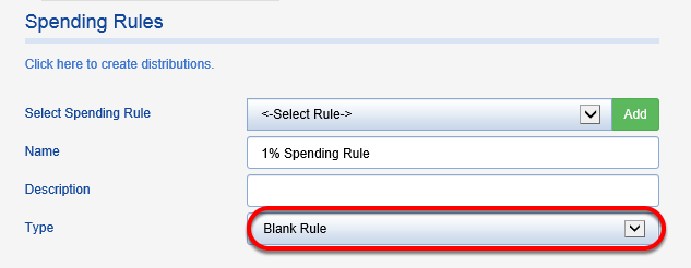 Blank Rule - Nothing is calculated. All funds are required to have a spending rule even if they do not calculate spending.
