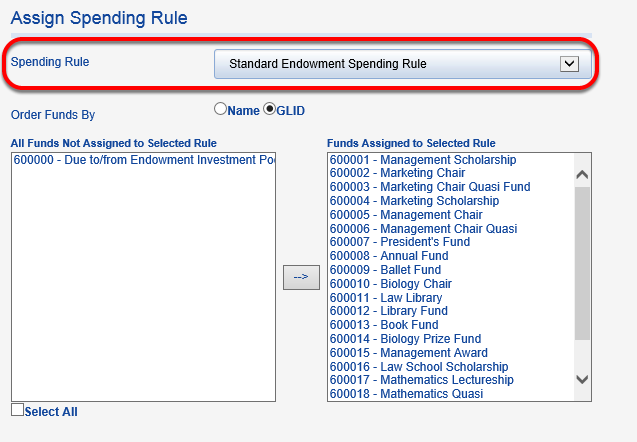 Select your new rule from the SPENDING RULE table.