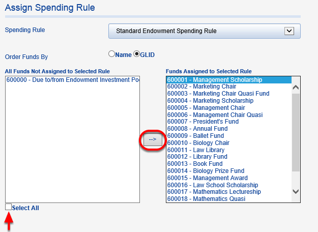 Highlight funds on the right to which you would like to apply the rule.  Move them to the left box by clicking the arrow button.  Once moved over, the funds are assigned.