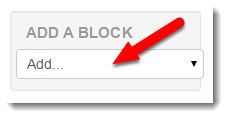 Add a block is selected.