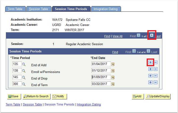 Session time periods tab with right arrow and plus sign highlighted.