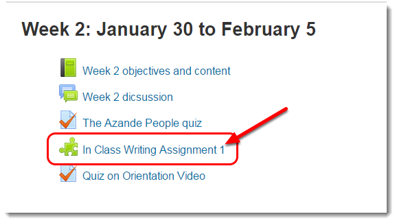 Turnitin assignment link on the course main page