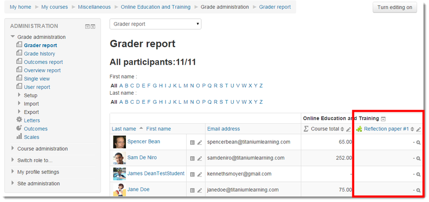 Grader report page