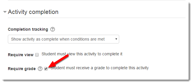 Require grade. checkbox