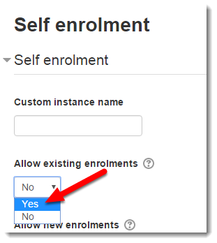 Allow existing enrolments has YES selected