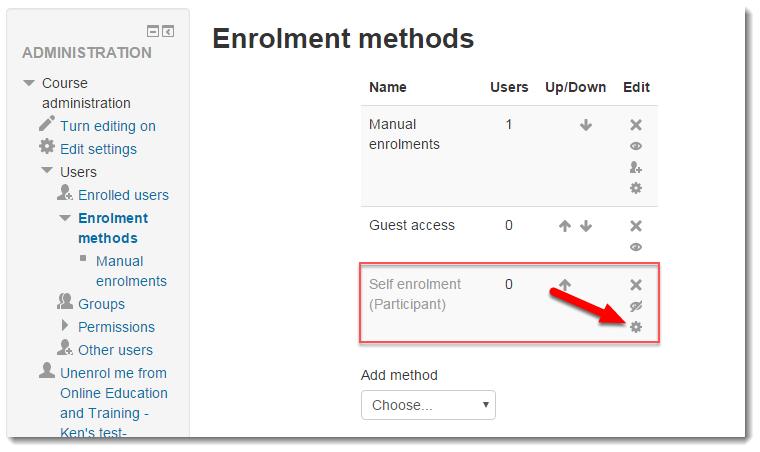 Cog wheel for Self enrollment (participant) link.