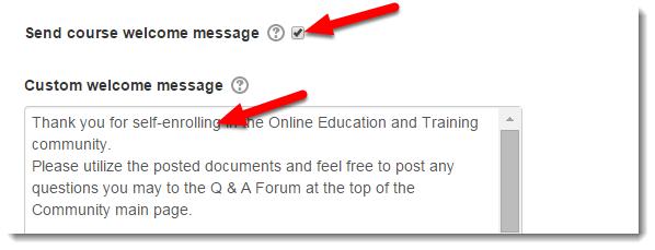 Custom welcome message field