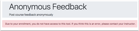 screenshot of error message when you do not have access to anonymous feedback.