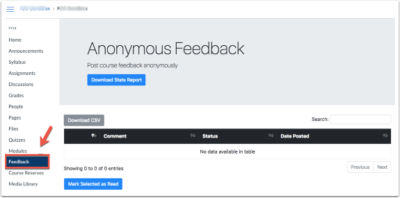 Anonymous Feedback from Course Navigation