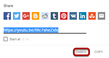 Click Embed.