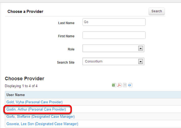 Select the Personal Care Provider