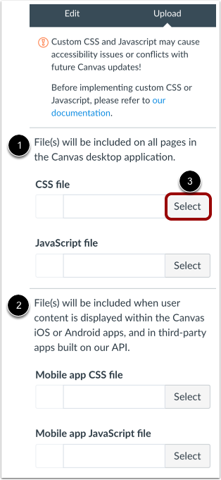 Upload Custom CSS/JavaScript Files