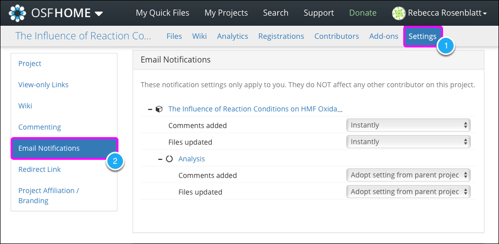 Modifying Email Notification Settings