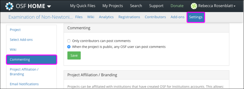 Configuring commenting