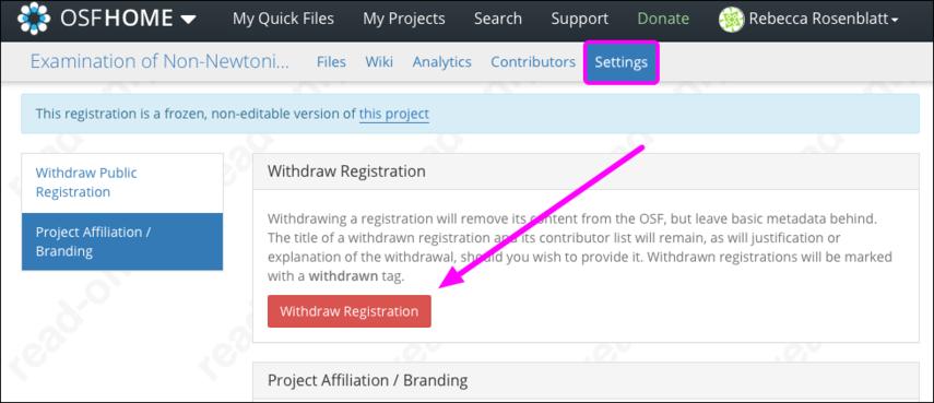 Withdraw Registration