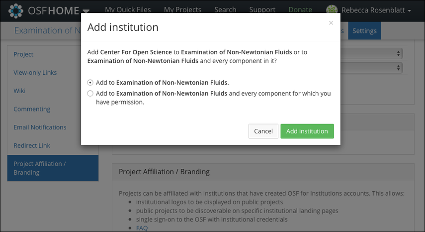 """The """"Add institution"""" Modal"""