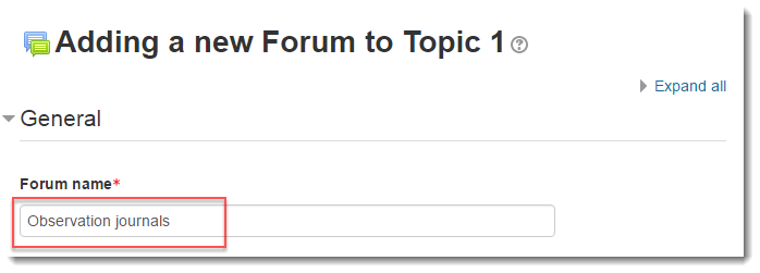 Forum name field is selected.