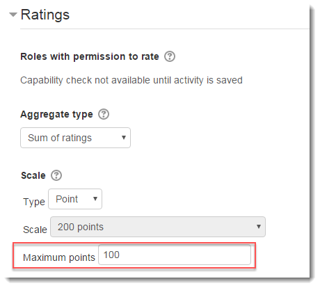 Maximum points value is set to 100.
