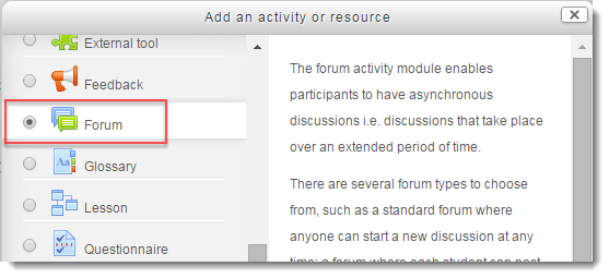 Forum radio button is selected.