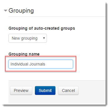 Grouping name field selected.