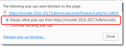 Always allow pop-up from this site is selected.