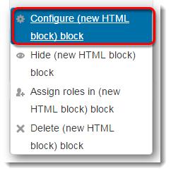 Configure block is selected.