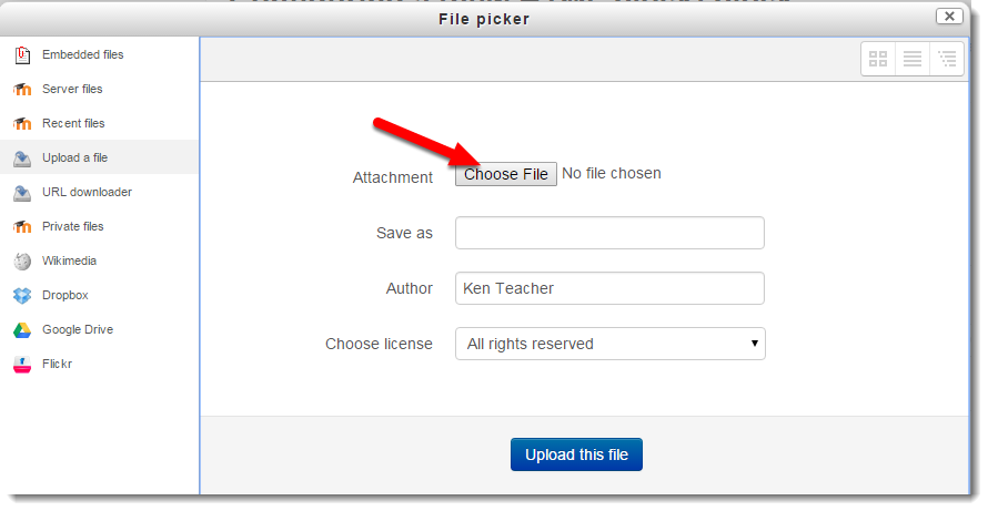 Choose file button is selected.