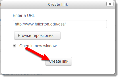 Create link button is selected.