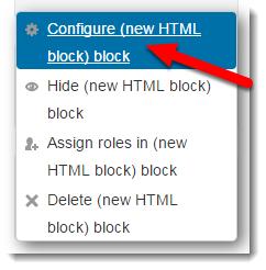 Configure block is selected