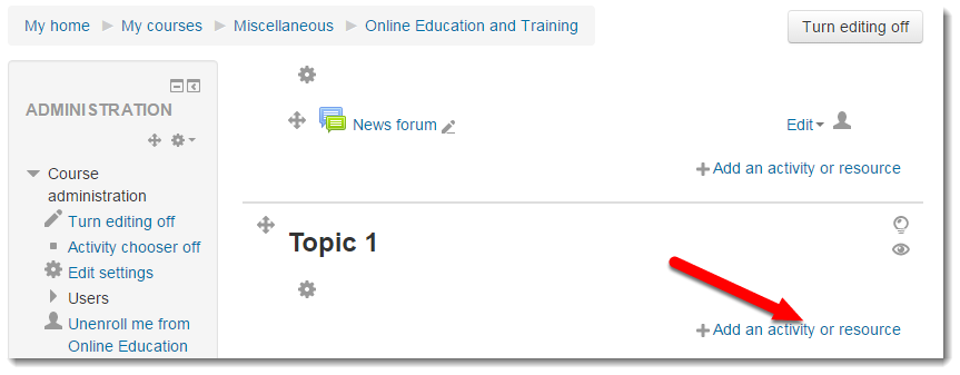 Add an activity or resource link is selected.