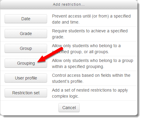 Grouping button is selected.