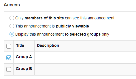 Post announcement to group(s). (Optional)